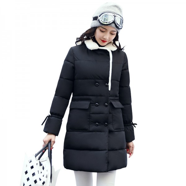 Winter Jacket Women Warm Turn Down Collar Thicken Long Parka Female Solid Cotton Padded Winter Coat Extra Image 1