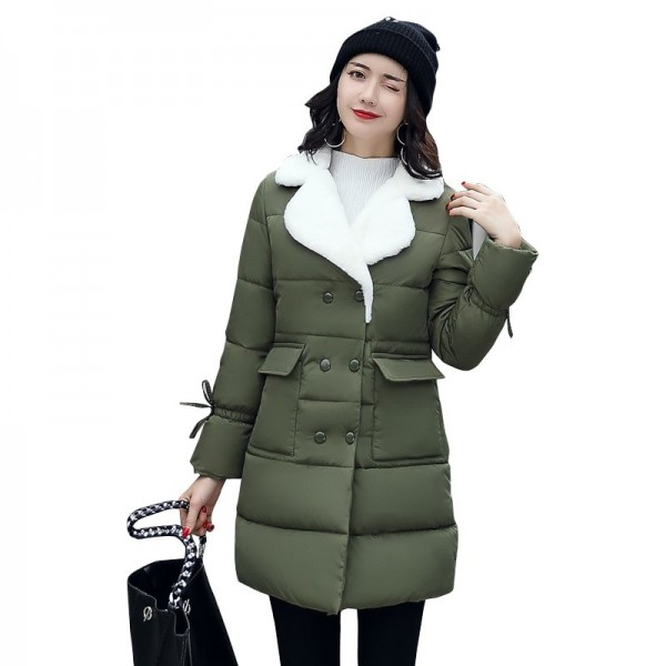Winter Jacket Women Warm Turn Down Collar Thicken Long Parka Female Solid Cotton Padded Winter Coat Extra Image 3