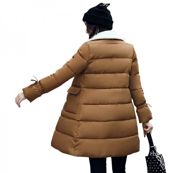Winter Jacket Women Warm Turn Down Collar Thicken Long Parka Female Solid Cotton Padded Winter Coat Extra Image 4