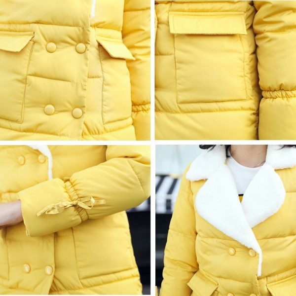 Winter Jacket Women Warm Turn Down Collar Thicken Long Parka Female Solid Cotton Padded Winter Coat Extra Image 5