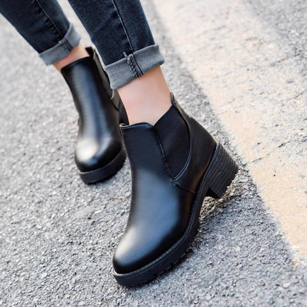 d384320100544 ... Leather Boots Autumn Winter Square Heel Ankle Boots Top Quality  Motorcycle Ladies Shoes Female Footwear; Black Black