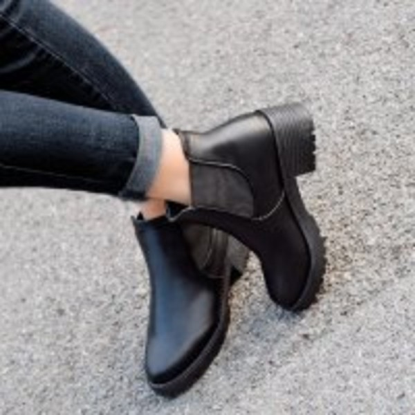Winter Leather Boots Autumn Winter Square Heel Ankle Boots Top Quality Motorcycle Ladies Shoes Female Footwear Extra Image 3