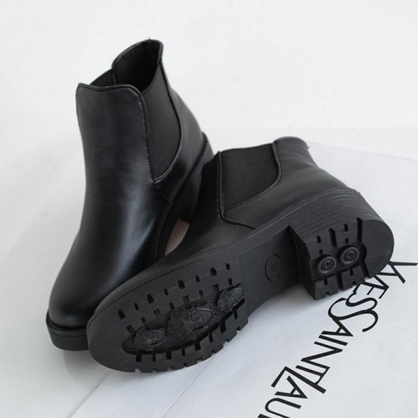 Winter Leather Boots Autumn Winter Square Heel Ankle Boots Top Quality Motorcycle Ladies Shoes Female Footwear Extra Image 5