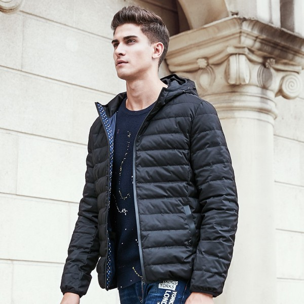 Buy winter light thin down coat men brand clothing solid pure ...