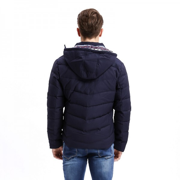 Winter Light Weight Men Down Jacket Casual Slim Fit Warm Down Coat Hat Detachable Stand Collar Male Coats Extra Image 3