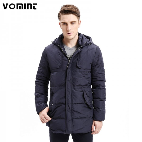 Winter Men Down Coats Heavy Weight Hoodie Organ Design Down Warm Long Jackets Solid Color Basic Style Jackets Extra Image 1