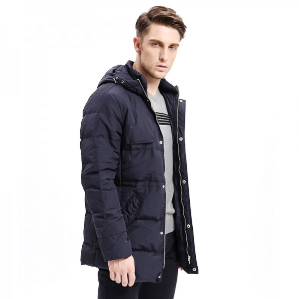 Winter Men Down Coats Heavy Weight Hoodie Organ Design Down Warm Long Jackets Solid Color Basic Style Jackets Extra Image 3