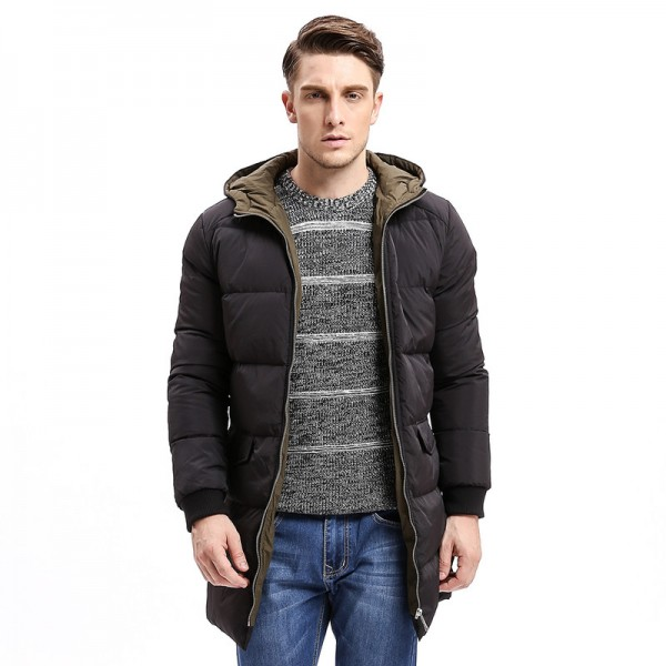 Winter Men Down Hoodie Coat Heavy Weight Zipper Turn Down Warm Long Jackets Solid Color Basic Big Pockets