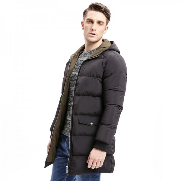 Winter Men Down Hoodie Coat Heavy Weight Zipper Turn Down Warm Long Jackets Solid Color Basic Big Pockets Extra Image 3