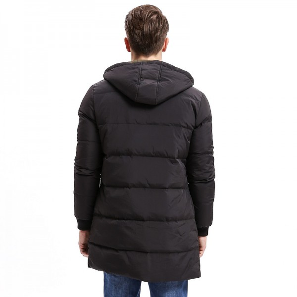 Winter Men Down Hoodie Coat Heavy Weight Zipper Turn Down Warm Long Jackets Solid Color Basic Big Pockets Extra Image 4