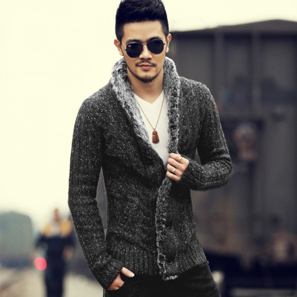 Winter Men new style slim cotton woolen knitted cardigan men fashion design knitwear casual cardigan winter warm thick Extra Image 1