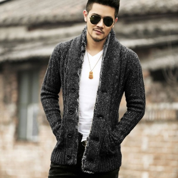 Winter Men new style slim cotton woolen knitted cardigan men fashion design knitwear casual cardigan winter warm thick