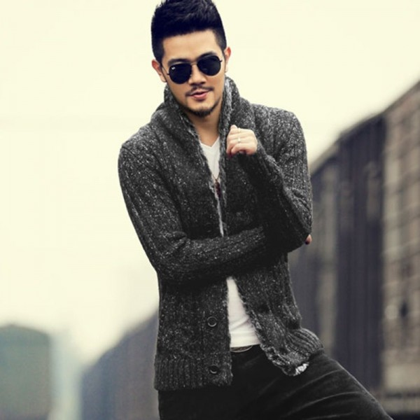 Winter Men new style slim cotton woolen knitted cardigan men fashion design knitwear casual cardigan winter warm thick Extra Image 2