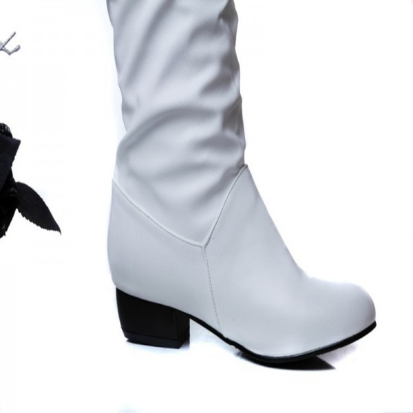 Winter Mid Calf Women Boots Black White Brown flats heels half boots autumn Snow Footwear Female Shoes Extra Image 4