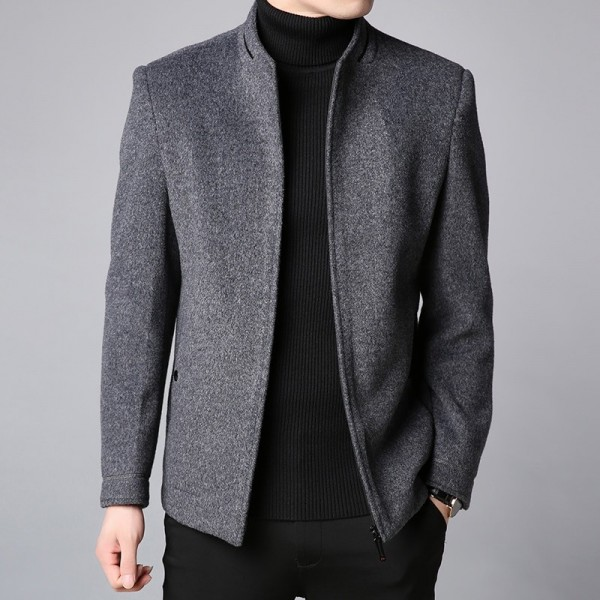 Winter New Fashion Brand Coat Men Slim Fit Wool Peacoat Warm Jackets Wool Blends Overcoat Designer Casual Mens