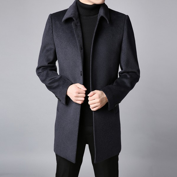 Winter New Fashion Coat Mens Trench Coat Slim Fit Pea Coat Warm Jacket Wool Blends Overcoat Long Casual Men Clothing Extra Image 2
