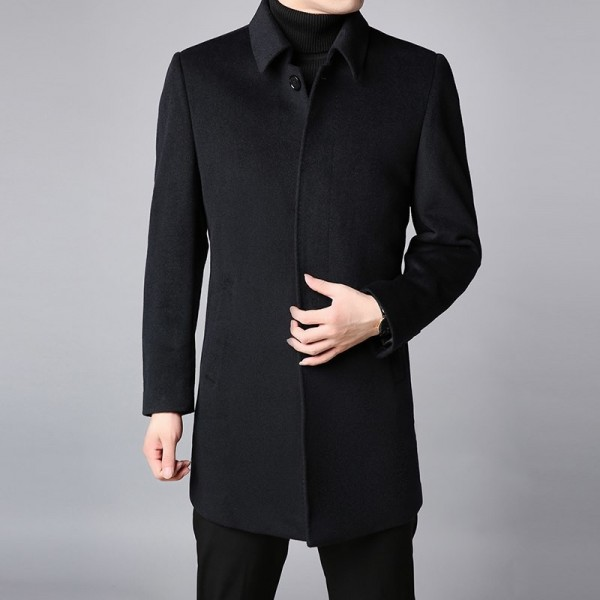 Winter New Fashion Coat Mens Trench Coat Slim Fit Pea Coat Warm Jacket Wool Blends Overcoat Long Casual Men Clothing Extra Image 3