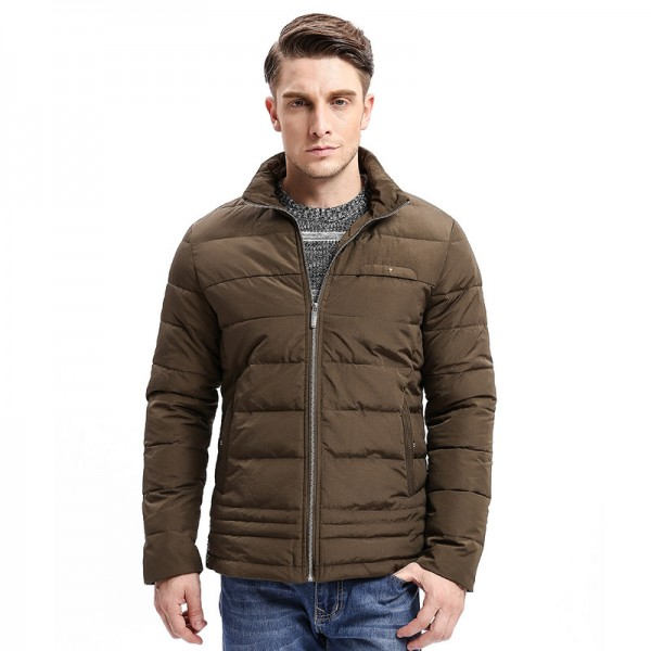 Winter New Men Parkas Smart Casual Jacket Zipper Button Bottom Design Thick Stand Collar Business Fashion Outwear