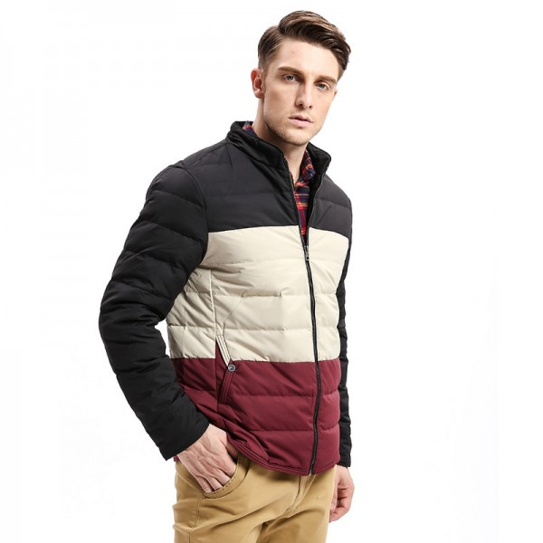Winter New Mens Down Coat Jacket Three Colors Stitching Regular Fit Warm Turn Down Coats Fashion Business Outfit Extra Image 3