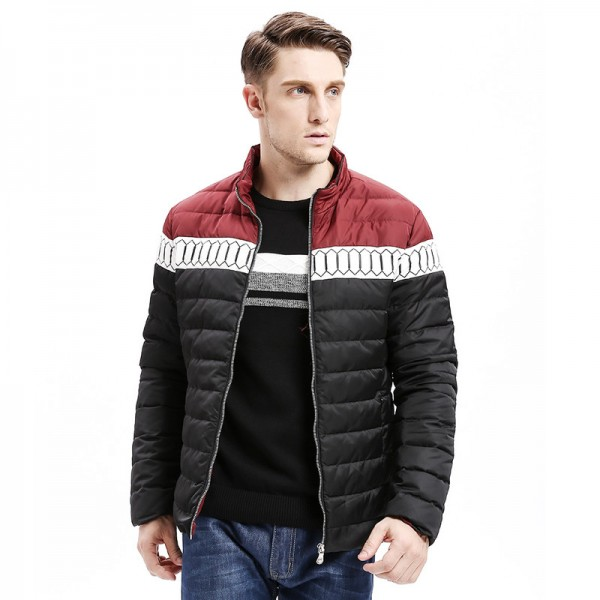 Winter New Mens Down Jacket Smart Casual Color Stitching Regular Fit Warm Down Coats Fashion Male Outwear