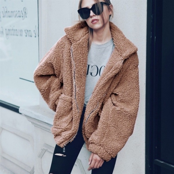 Winter Plus Size Fashion Zipper Jacket Woman Turn Down Collar Loose Coat With Pockets 2019 Wool Blends Outwear