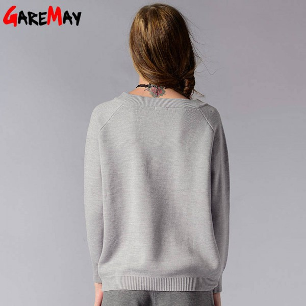 Winter Pullover Sweater Long Sleeve V Neck Knitted Loose Sweater For Women Extra Images 1