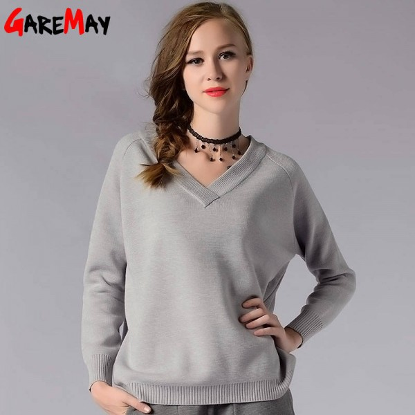 Winter Pullover Sweater Long Sleeve V Neck Knitted Loose Sweater For Women Extra Images 3