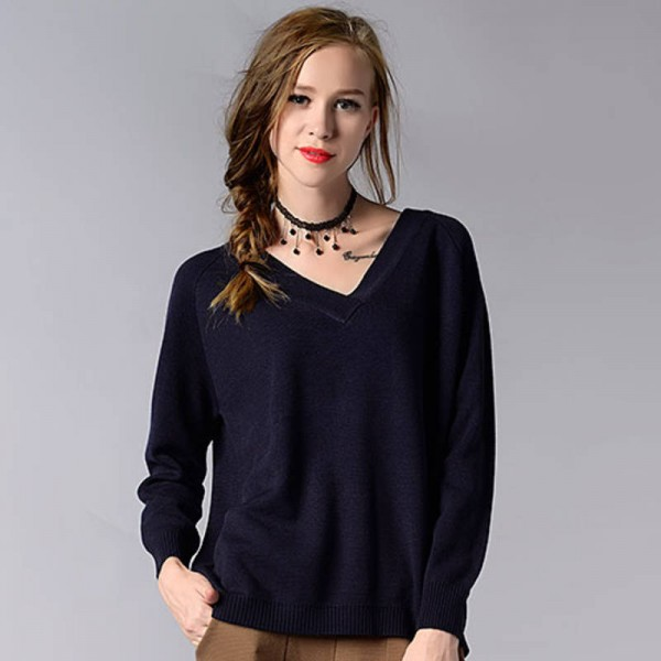 Winter Pullover Sweater Long Sleeve V Neck Knitted Loose Sweater ...