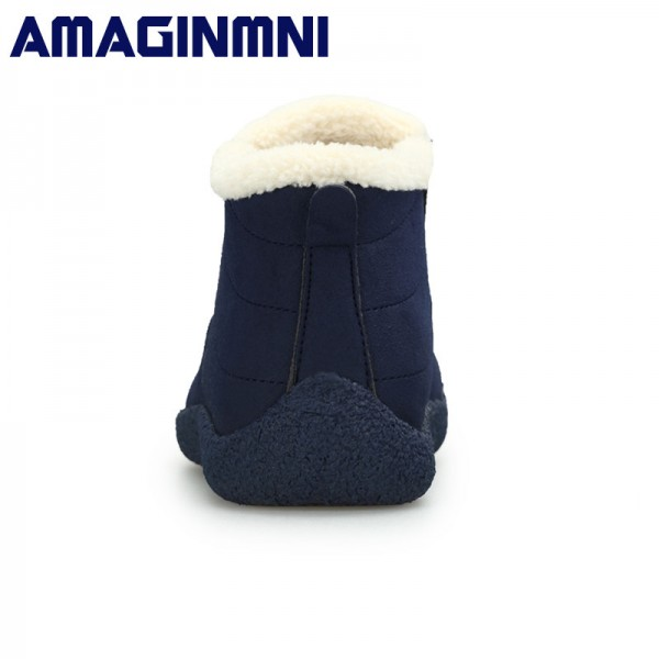 Winter Shoes Men Couple Unisex Snow Boots Warm Fur Inside Non Slip Bottom Keep Warm Casual Boots Men Waterproof Boots Extra Image 4