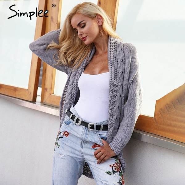 Winter shrug knitted sweater cardigan Women elegant autumn white cardigan Female turn down collar sweater cardigan
