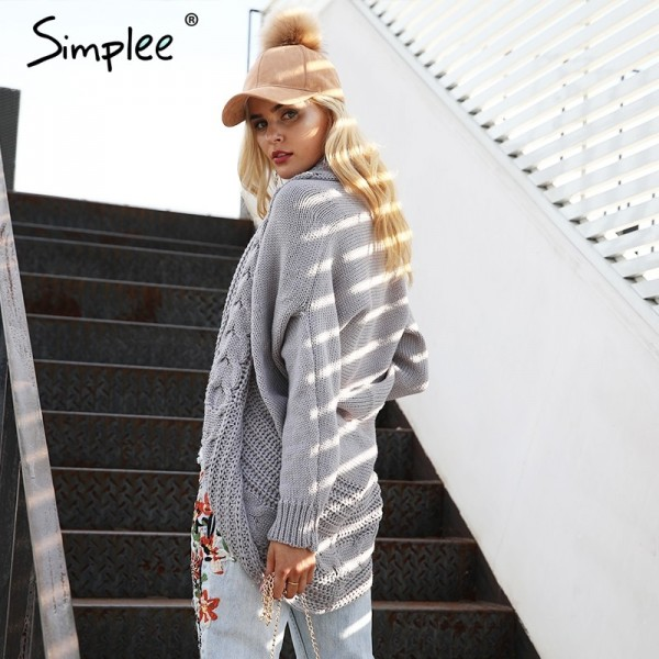 Winter shrug knitted sweater cardigan Women elegant autumn white cardigan Female turn down collar sweater cardigan Extra Image 2
