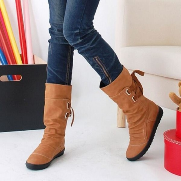Winter Snow Boots Mid Calf Solid Wedges Ladies Height Increasing Shoes Casual Leather Boot Woman Warm Botas Mujer Extra Image 2