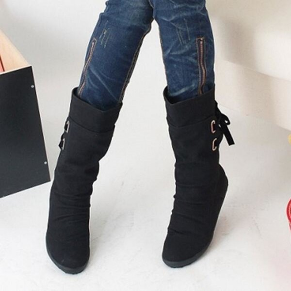Winter Snow Boots Mid Calf Solid Wedges Ladies Height Increasing Shoes Casual Leather Boot Woman Warm Botas Mujer Extra Image 3