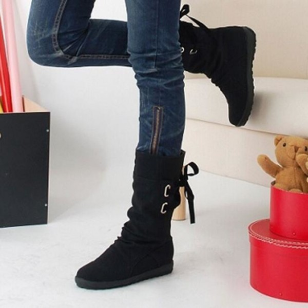 Winter Snow Boots Mid Calf Solid Wedges Ladies Height Increasing Shoes Casual Leather Boot Woman Warm Botas Mujer Extra Image 4