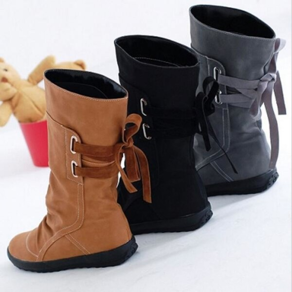 Winter Snow Boots Mid Calf Solid Wedges Ladies Height Increasing Shoes Casual Leather Boot Woman Warm Botas Mujer Extra Image 6