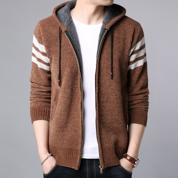 Winter Thick Velvet Fashion Jackets For Men Streetwear Trend Windbreakers Overcoat Warm Hooded Casual Coat Mens Clothes Extra Image 2