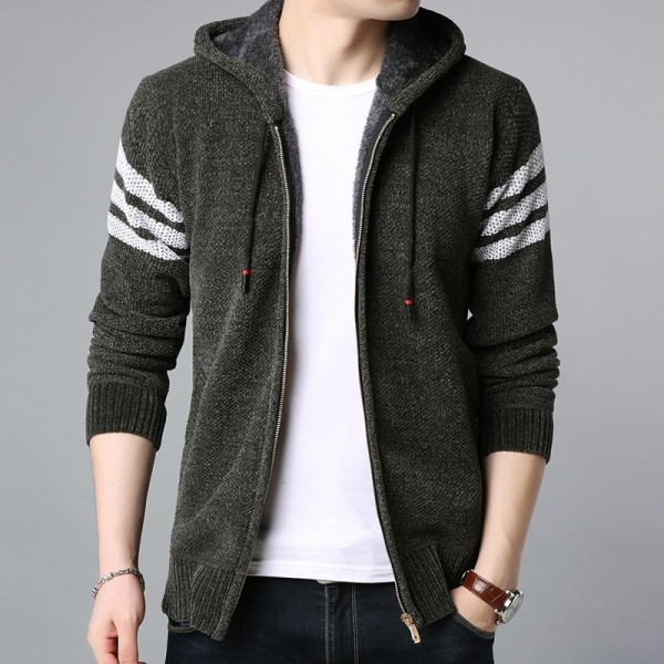 Winter Thick Velvet Fashion Jackets For Men Streetwear Trend Windbreakers Overcoat Warm Hooded Casual Coat Mens Clothes Extra Image 3