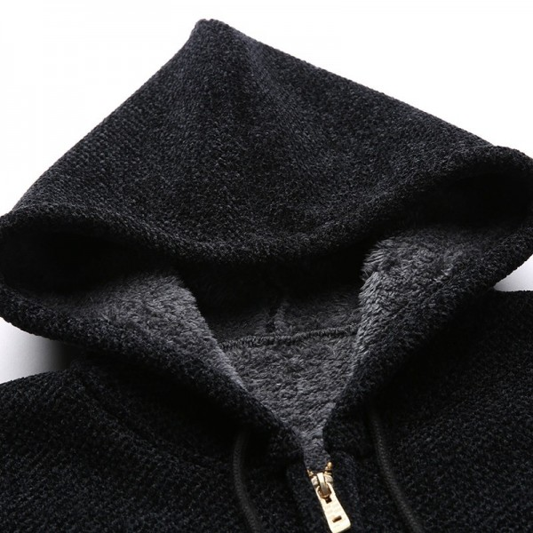 Winter Thick Velvet Fashion Jackets For Men Streetwear Trend Windbreakers Overcoat Warm Hooded Casual Coat Mens Clothes Extra Image 4