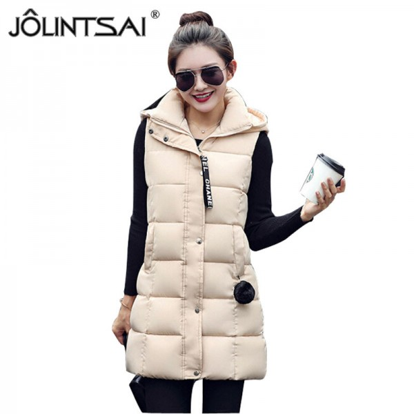 Winter Vest Women 2016 New Fashion Waistcoat Plus Size Slim Candy Color Vests Hooded Down Cotton Warm Long Vest Female Extra Image 1