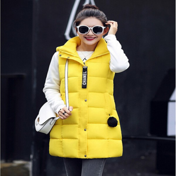 Winter Vest Women 2016 New Fashion Waistcoat Plus Size Slim Candy Color Vests Hooded Down Cotton Warm Long Vest Female Extra Image 2