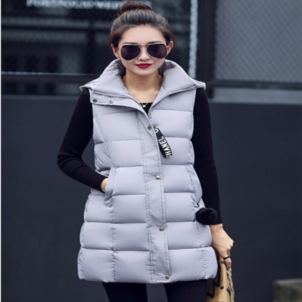 Winter Vest Women 2016 New Fashion Waistcoat Plus Size Slim Candy Color Vests Hooded Down Cotton Warm Long Vest Female Extra Image 3