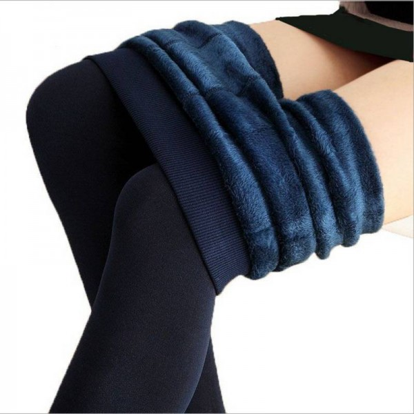 Winter Warm Elastic High Waist Leggings Velvet Faux Thick Stretch Trousers For Women Thumbnail