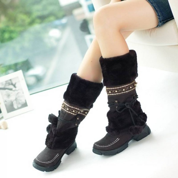Winter Warm Fur Knob Rubber Sole Knee High Boots Sexy Long Winter For Women Thumbnail