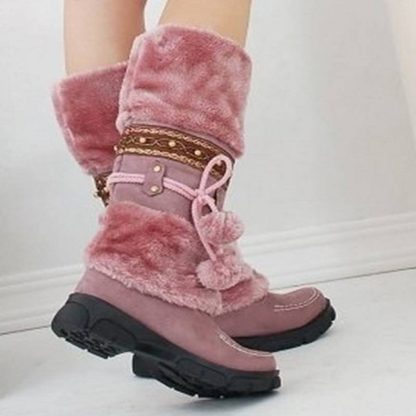 330d16b51f59 Winter Warm Fur Knob Rubber Sole Knee High Boots Sexy Long Winter ...