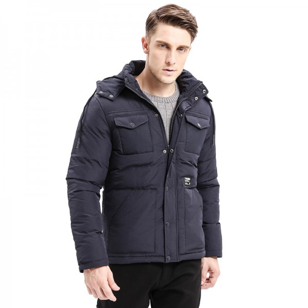Winter Warm Men Thicken Parkas Classic Casual Jacket Multi Pockets Zipper Button Hoodie Coats Fashion Male Jackets