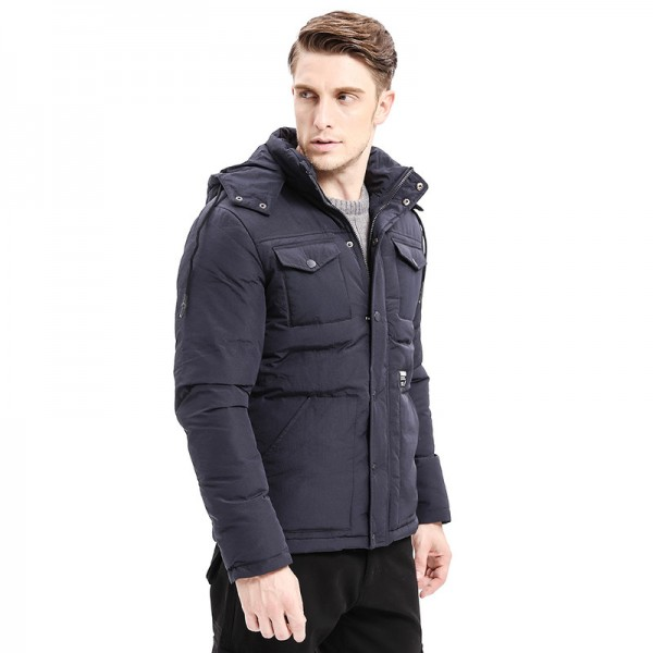 Winter Warm Men Thicken Parkas Classic Casual Jacket Multi Pockets Zipper Button Hoodie Coats Fashion Male Jackets Extra Image 3