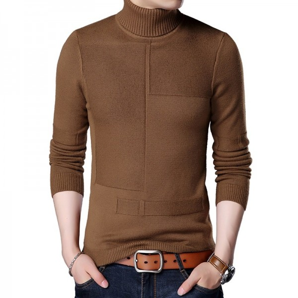 Winter Warm Turtleneck Sweater Men Cashmere Wool Pullover Men 2019 New Mens Knitted Sweaters Casual Slim Fit Pull Homme