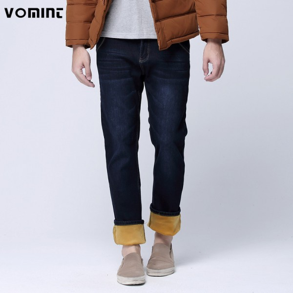 Winter Warmed Men Slim Straight Jean Casual Thicken Flannel Fleece Jean Elastic Wash Jean Plus Size Mens Pants Trousers Extra Image 1