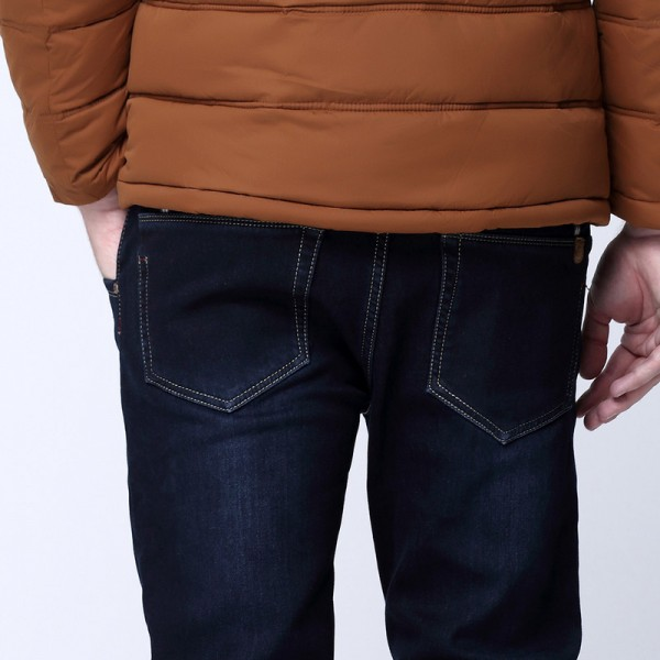 Winter Warmed Men Slim Straight Jean Casual Thicken Flannel Fleece Jean Elastic Wash Jean Plus Size Mens Pants Trousers Extra Image 3