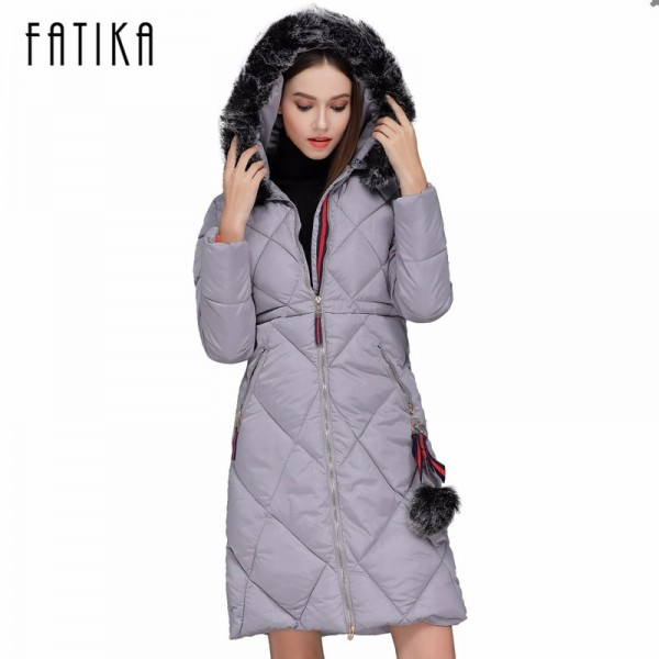 Winter Women Thick Parka Cotton Padded Fur Collar Hooded Parkas Plus Size Casual Slim Long Wadded Jackets for Woman Extra Image 1